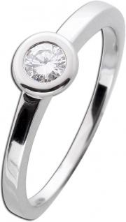 Solitärring Goldring Zargenfassung Diamant Brillant Weißgold 585