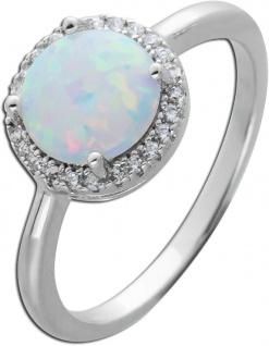 Synthetischer Opal Ring weiß blau schimmernd Silber 925 Zirkonia