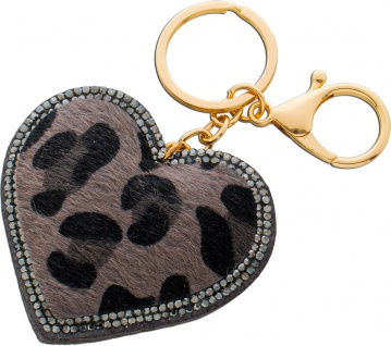 Herz Taschen Schlüsselanhänger Metall Leoparden Muster Kristallen