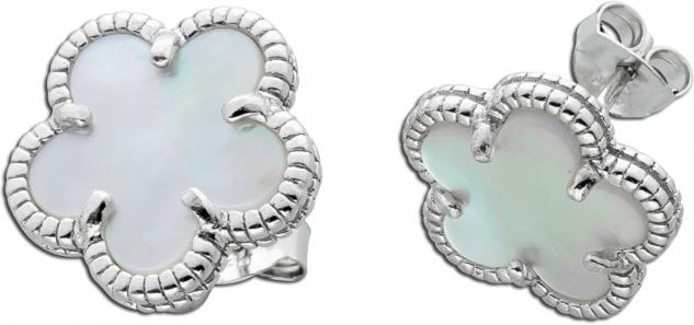 Blumenohrstecker weißen Perlmutt Silber 925 Edelsteinschmuck