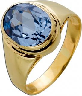 Antiker 1950 Gelbgold 18 Karat Ring 1 Blautopas Edelstein 3ct