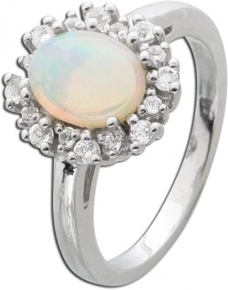 Silberring 925 Opal weiße Topase