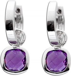 Violetter Klappcreolen echter Silber 925 lilafarbener Amethyst