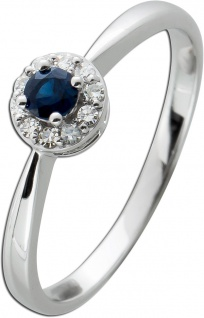 Ring Weissgold 585 mit einem blauen Saphir 0, 14ct und10 Diamanten 8/8
