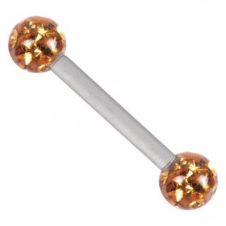 WILDCAT Piercing Barbell Titan 1, 6mm Stärke Kugel 4mm gelb