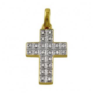 Kreuz Anhänger Weißgold Gelb Gold 585 Diamant Brillant 0, 12ct W/P