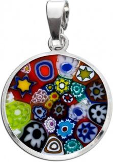 Murrinaglas Anhänger Silber 925 Original Murano Glas Damen Ø19mm