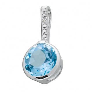 Edelsteinanhänger Blautopas Silber 925 weiße Zirkonia