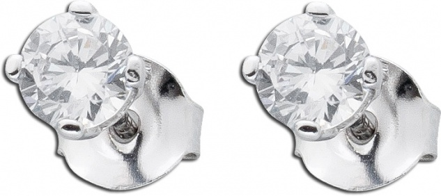 Ohrringe Silber Solitärohrstecker Zirkonia Ohrstecker Sterling