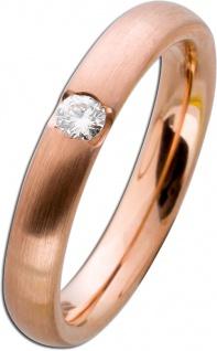 Mattierter Damenring Rotgold 585 - Diamant Brillantschliff 0, 10ct
