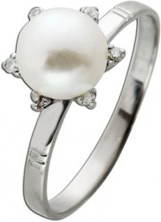Perlen Brillant Ring Weissgold 585 Japanische Akoyaperle Perfekt Rund