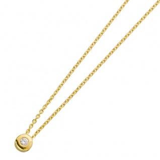 Halskette Gelb Gold 585 Solitäranhänger Diamant Brillant 0, 05ct W/P - Vorschau