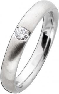 Damenring Weißgold 585 mattiert - Diamant Brillantschliff 0, 10ct W/SI