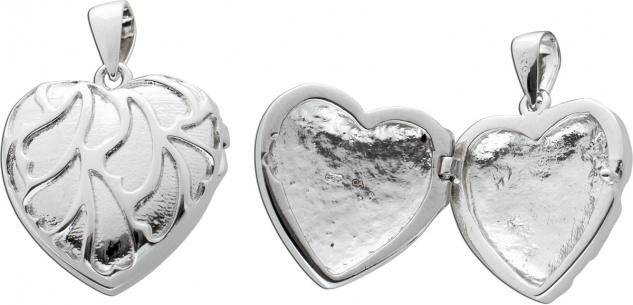Herz Medaillon Anhänger Silber 925 gemusterter Oberfläche