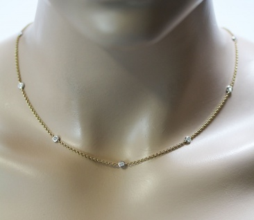 Collier Gelb Gold 585 Diamant Brillant 0, 35ct TLB/P1