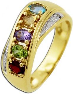 Ring Gelbgold 585/- bunten Edelsteinen 2 weißen Diamanten 0, 01ct W/P