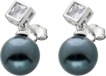 Perlen Ohrstecker grau schwarz Silber 925 Ohrhänger