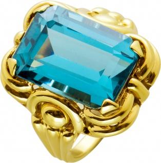 Antiker Edelsteinring Ring Gelbgold 333 Turmalin Blau synth Stein um