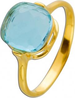 Blautopas Ring Gelbgold 375 facettierter blauer Edelstein Damen