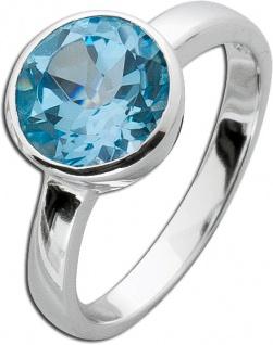 Blautopas Solitärring Sterling Silber 925