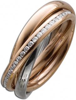 Trinity 3 Ringe ineinander Stahlring Bicolor Rose Silber farben