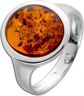 Edelstein Ring Silber 925 ovaler brauner Bernstein Cabochon