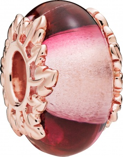 PANDORA Charm 788244 Pink Glass and Leaves ROSE Murano Glas