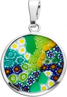 Murrinaglas Anhänger Silber 925 buntes Murano Glas Blumenmuster - Vorschau