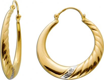 Creolen Gelbgold 333 8 Karat mit 2 Diamanten 8/8 W/P1jeweils 0, 01ct