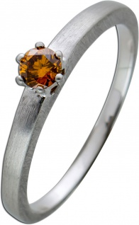 Solitär Ring Platin 950 Diamant Brillant cognacfarben brown/VVSI 0, 18