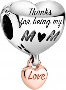 Pandora People Charm 788830C00 Love You Mum Heart Rose Silber 925