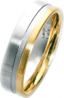 Trauring in Weißgold 750/- + Gelbgold 750/-, Breite 6, 0mm, Stärke