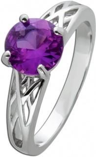 Violetter Edelstein Ring Silber 925 Amethyst Rundschliff facettiert