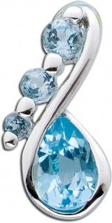 Blautopas Anhänger Sterling Silber 925 blauer Topas facettiert