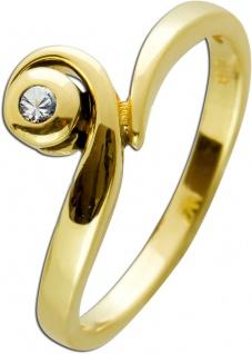 Moderner Brillant Ring Gelbgold 585 Poliert Brillant W/SI 0, 05 Carat