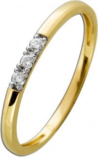 Ring Gelbgold 585 mit 3 Brillanten zus. 0, 05ct, 16-20mm