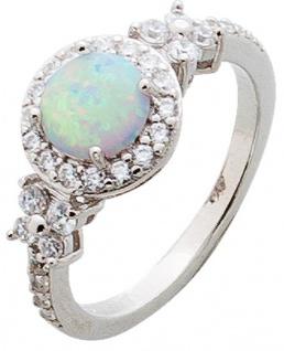 Opal Ring Silber 925 weiss blau