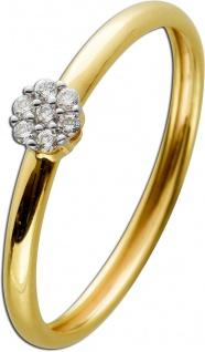 Ring Gelbgold 585 mit 7 Brillanten zus. 0, 05ct W/SI 16-19mm