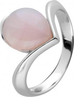 Rosenquarz Edelstein Ring Silber 925 rosa Tropfen Cabochon 17-20mm