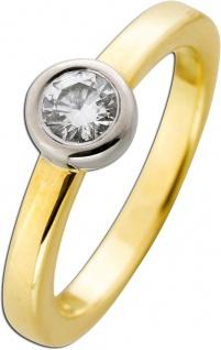 Solitär Brillantring - Gelbgold Weißgold 585 Brillant 0, 50ct TW /