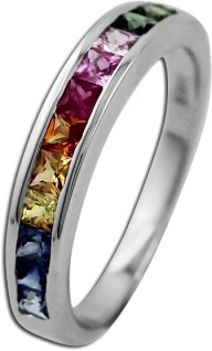 Memoire Ring Weißgold 585 bunte Saphire Edelsteinring
