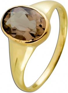 Antiker Rauchquarz Ring Gelbgold 585 Cognacfarbener Edelstein Um 1980