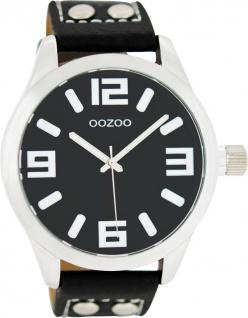 OOZOO Uhren C1054 schwarzes Nieten Lederarmband Silber Gehäuse Unisex