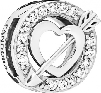 PANDORA REFLEXIONS 797793CZ Clip Charm Asymmetric Heart and Arrow