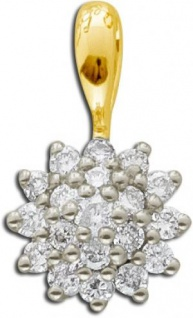 Brillant Kettenannhänger Gelb Gold 585 14 Karat Diamant 0, 24ct W/SI
