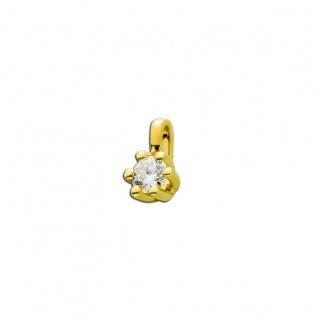 Brillant Anhänger Gold 585 14kt Solitär Diamant 0, 10ct