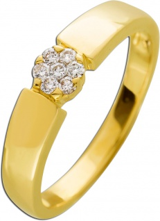 Brillantring Gelb Gold 585 Diamant 0, 14ct W/SI