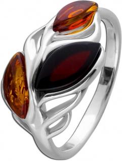 Blatt Edelstein Ring Silber 925 Bernstein Braun/Cherry Navette