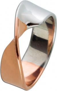 Moderner Damen Ring Edelstahl T-Y modernes Design teils rose vergoldet