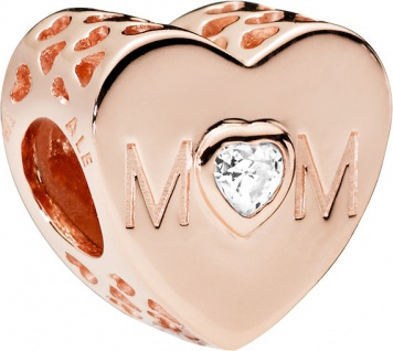 PANDORA Charm 781881CZ Mother Heart Rose Metall klarer Zirkonia